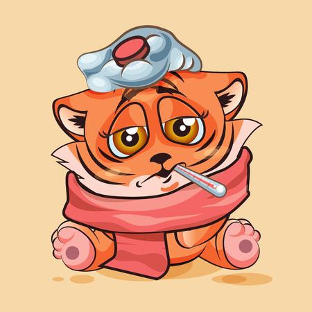 vector illustration isol dessin anim caractre emoji tiger cub malade avec thermomtre dans la bouche autocollant moticne pour le site infographie