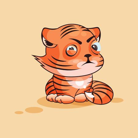 tigre cachorro: Vector de la ilustración Emoji personaje de dibujos animados del cachorro de tigre entrecierra los ojos y mira con desconfianza emoticono pegatina para el sitio, infografía, video, animación, página web, correo electrónico, noticias, informe, cómico