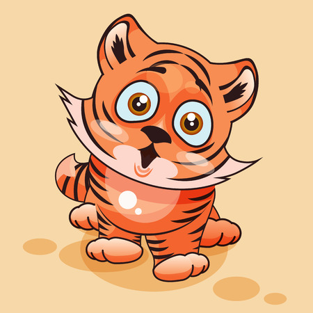 tigre cachorro: Vector de la ilustración de dibujos animados de caracteres Emoji del cachorro de tigre sorprendido con grandes ojos emoticono personalizado para el sitio, infografías, vídeos, animaciones, páginas web, correos electrónicos, boletines, informes, cómics