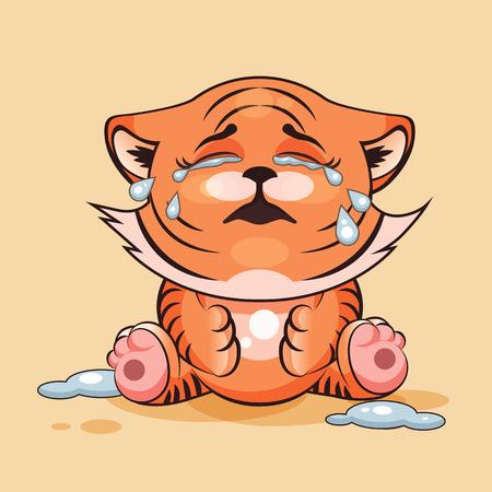 tigre cachorro: Vector de la ilustración de dibujos animados de caracteres Emoji tigre llorando cachorro, muchas lágrimas emoticono personalizado para el sitio, infografías, vídeos, animaciones, páginas web, correos electrónicos, boletines, informes, cómics