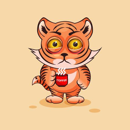 Tiger cub: Vector de la ilustraci�n de dibujos animados de caracteres Emoji nervioso del cachorro de tigre con la taza de caf� emoticon pegatina para el sitio, infograf�as, v�deos, animaciones, p�ginas web, correos electr�nicos, boletines de noticias, informe, c�mico Vectores