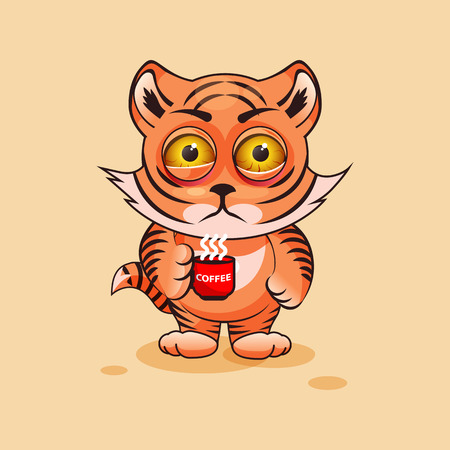 tense: Vector Stock Illustration isolated Emoji character cartoon Tiger cub nervous with cup of coffee sticker emoticon for site, infographics, video, animation, websites, e-mails, newsletters, report, comic Illustration