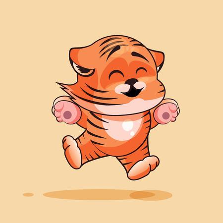 tigre cachorro: Vector de la ilustración de dibujos animados de caracteres Emoji del cachorro de tigre saltando de alegría, feliz emoticono personalizado para el sitio, infografías, vídeos, animaciones, páginas web, correos electrónicos, boletines, informes, cómics