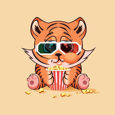 Tiger cub: Ilustraci�n vectorial de dibujos animados car�cter Emoji Tigre cachorro masticar palomitas, viendo la pel�cula en 3D gafas emoticono personalizado para el sitio, infograf�a, video, animaci�n, p�gina web, correo electr�nico, noticias, informe, c�mico