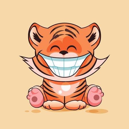 tigre cachorro: Ilustración vectorial de dibujos animados de carácter aislado Emoji cachorro de tigre con enorme sonrisa de oreja a oreja pegatina emoticono para el sitio, infografía, video, animación, página web, correo electrónico, noticias, informe, cómico