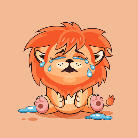 Vector Stock Illustration isolated Emoji character cartoon Lion cub crying, lot of tears sticker emoticon for site, infographics, video, animation, websites, e-mails, newsletters, reports, comics