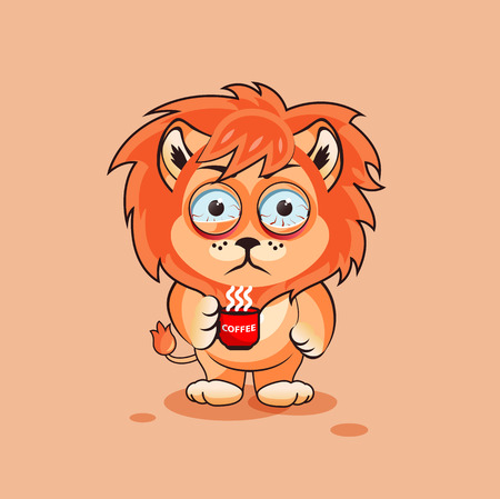 lion cub: Vector Stock Illustration isolated Emoji character cartoon Lion cub nervous with cup of coffee sticker emoticon for site, infographics, video, animation, websites, e-mails, newsletters, report, comic Illustration
