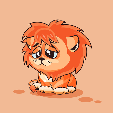 eyes looking down: Vector Stock Illustration isolated Emoji character cartoon Lion cub sad and frustrated sticker emoticon for site, infographics, video, animation, websites, e-mails, newsletters, reports, comics Illustration