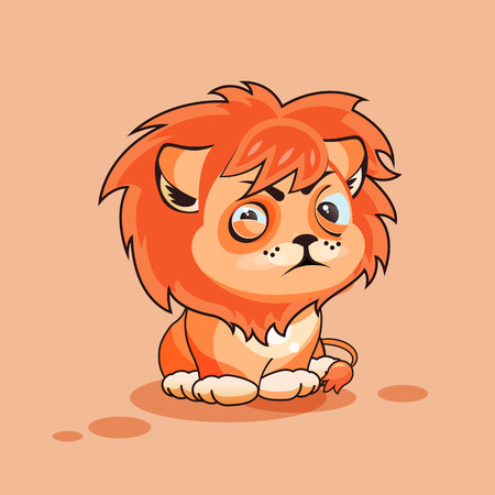 resentment: Vector Stock Illustration isolated Emoji character cartoon Lion cub squints and looks suspiciously sticker emoticon for site, infographic, video, animation, website, e-mail, newsletter, report, comic