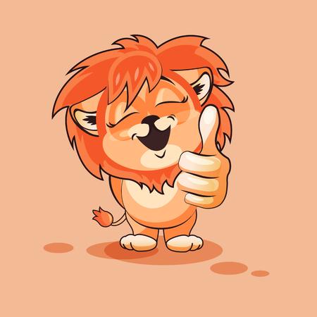 Vector Illustration isolé Emoji dessin animé caractère Lion cub approuve avec thumb up autocollant émoticône pour le site, infographies, vidéo, animation, sites Internet, e-mails, bulletins, rapports, bandes dessinées Vecteurs