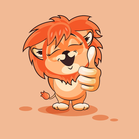Vector Stock Illustration isolated Emoji character cartoon Lion cub approves with thumb up sticker emoticon for site, infographics, video, animation, websites, e-mails, newsletters, reports, comics Illustration