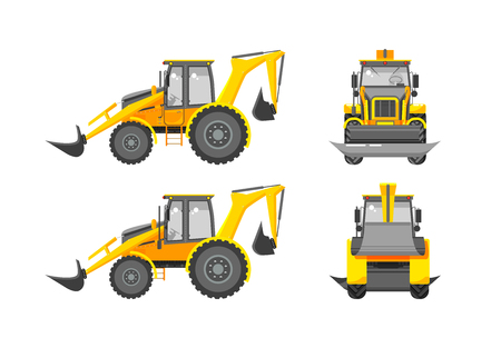 skid steer: Set stock vector illustration isolated loader front, side, back view in flat style white background Element for site, infographics, video, animation, websites, e-mails, newsletters, reports, comic Illustration