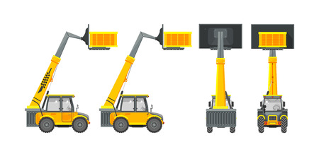 heavy equipment: Set stock vector illustration isolated loader front, side, back view in flat style white background Element for site, infographics, video, animation, websites, e-mails, newsletters, reports, comic Illustration