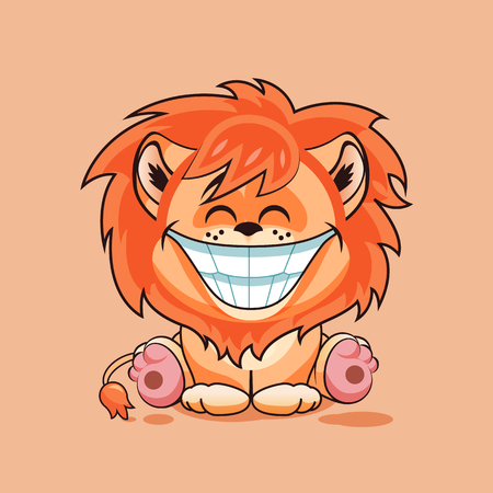 Vector Illustration isolated Emoji character cartoon Lion cub with huge smile from ear to ear sticker emoticon for site, infographic, video, animation, website, e-mail, newsletter, report, comic