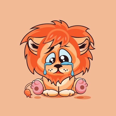 lion cub: Vector Stock Illustration isolated Emoji character cartoon sad, frustrated Lion cub crying, tears sticker emoticon for site, infographic, video, animation, website, e-mail, newsletter, report, comic