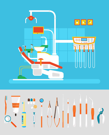 ejector: Stock vector illustration set of dental office with dental chair, dental equipment in flat style element for infographic, website, icon, games, motion design, video