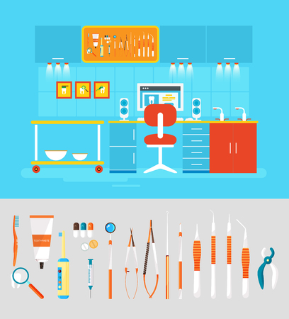 Stock vector illustration set of dental office with dental chair, office of dentist, dental equipment in flat style element for infographic, website, icon, games, motion design, video Ilustrace