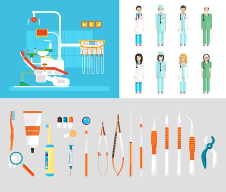 ilustración stock conjunto de vectores de la oficina dental con sillón dental, personal médico, equipo dental en elemento de estilo plano de infografía, página web, icono, juegos, diseño de movimiento, vídeo Ilustración de vector
