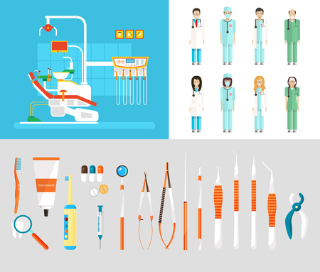 Stock vector illustration set of dental office with dental chair, medical staff, dental equipment in flat style element for infographic, website, icon, games, motion design, video