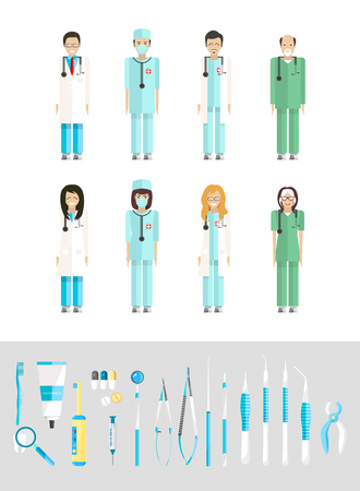 Stock vector illustration set of dental office with medical staff, dental equipment in flat style element for infographic, website, icon, games, motion design, video Stock Illustratie