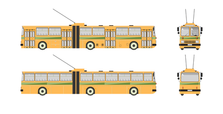 trackless: Set stock vector illustration isolated trolleybus front, side, back view flat style white background Element for site, infographic, video, animation, website, e-mail, newsletter, reports, comic, icon Illustration