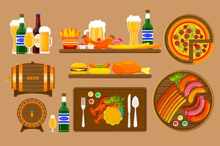 bbq barrel: Stock vector illustration set beers, beer mugs, bottles and food with beer, appetizer, fast food in flat style element for info graphic, website, icon, games, motion design, video Illustration