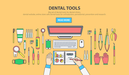 Stock vector illustration set of dental office with dental equipment in  linear flat style element for infographic, website, icon, games, motion design, video