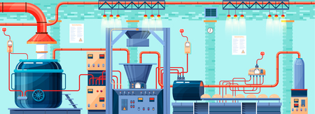 Ilustración vectorial material entre la planta, fábrica, panadería y pastelería para la producción de productos de panadería en elemento de estilo plano de información gráfica, web, icono