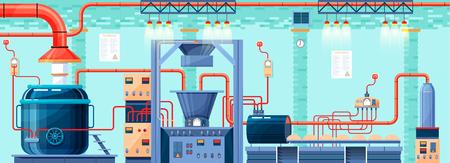 ilustracji wektorowych Zdjęcie wnętrza roślin, fabryki, piekarni i pieczenia dla produkcji wyrobów piekarniczych w płaskiego elementu stylu graficznej informacji, strony internetowej, ikona