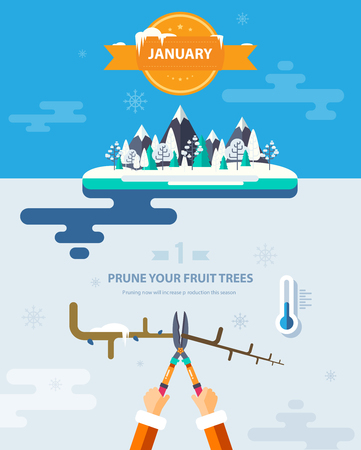 low temperature: Stock vector illustration winter landscape with mountains, trees in snow, low temperature thermometer, trimming tree branches in flat style element for infographic, website, game, motion design, video Illustration