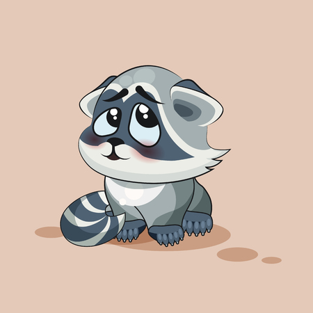 grimace: Vector Stock Illustration isolated Emoji character cartoon Raccoon cub embarrassed, shy and blushes sticker emoticon for site, info graphic, video, animation, websites, e-mail, newsletter, report, comic