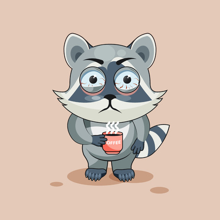 nervousness: Vector Stock Illustration isolated Emoji character cartoon Raccoon cub nervous with cup of coffee sticker emoticon for site, info graphic, video, animation, websites, e-mails, newsletters, report, comic