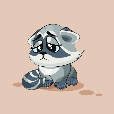 eyes looking down: Vector Stock Illustration isolated Emoji character cartoon Raccoon cub sad and frustrated sticker emoticon for site, info graphic, video, animation, websites, e-mails, newsletters, reports, comics