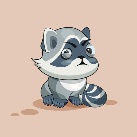 resentment: Vector Stock Illustration isolated Emoji character cartoon Raccoon cub squints and looks suspiciously sticker emoticon for site, infographic, video, animation, website, e-mail, newsletter, report, comic Illustration