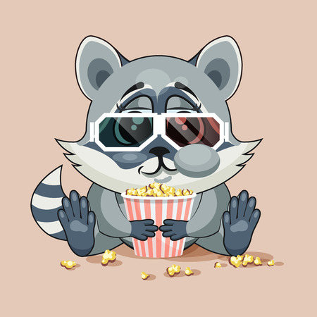 cheek: Vector Illustration Emoji character cartoon Raccoon cub chewing popcorn, watching movie in 3D glasses sticker emoticon for site, infographic, video, animation, website, e-mail, newsletter, report, comic