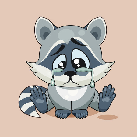 gaze: Vector Stock Illustration isolated Emoji character cartoon sad, frustrated Raccoon cub crying, tears sticker emoticon for site, infographic, video, animation, website, e-mail, newsletter, report, comic