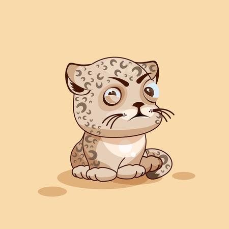 Foto Stock Illustrazione isolato Emoji personaggio dei cartoni animati Leopard cub socchiude gli occhi e guarda con sospetto emoticon adesivo per il sito, infografica, video, animazione, sito web, e-mail, newsletter, report, fumetto