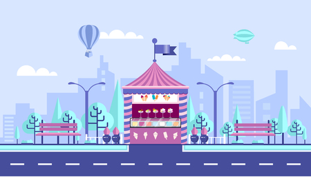 private parts: Stock vector illustration city street with selling ice cream kiosk in flat style element for infographic, website, icon, games, motion design, video