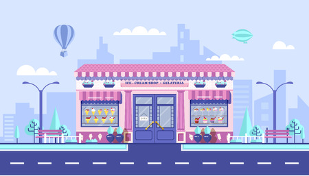architectural lighting design: Stock vector illustration city street with Ice cream cafe in flat style element for infographic, website, icon, games, motion design, video