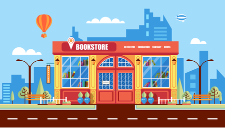 lighting column: Stock vector illustration city street with book shop building, modern architectures, office building in flat style element for infographic, website, icon, games, motion design, video Illustration