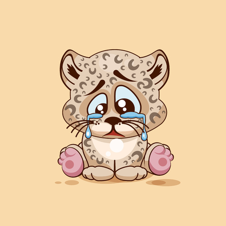 eyes looking down: Vector Stock Illustration isolated Emoji character cartoon sad, frustrated Leopard cub crying, tears sticker emoticon for site, infographic, video, animation, website, e-mail, newsletter, report, comic