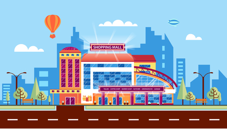 Stock vector illustration city street with Moll, shopping center, modern architecture in flat style element for infographic, website, icon, games, motion design, video Illustration