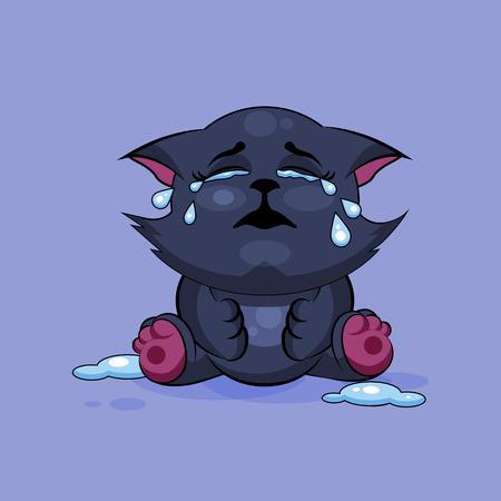 Foto Stock Illustrazione isolato carattere Emoji fumetto gatto nero che piange, un sacco di emoticon lacrime adesivo per il sito, infografica, video, animazioni, siti web, e-mail, newsletter, relazioni, fumetti Vettoriali
