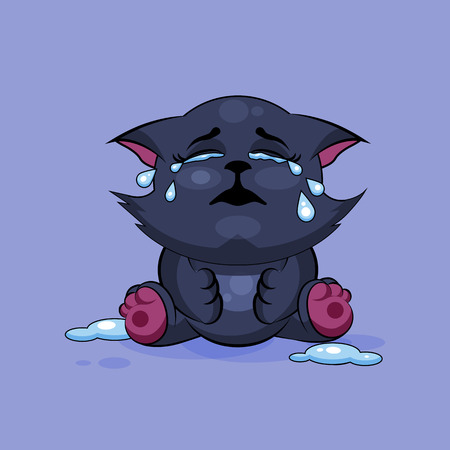 Vector Stock Illustration isolated Emoji character cartoon black cat crying, lot of tears sticker emoticon for site, infographics, video, animation, websites, e-mails, newsletters, reports, comics Ilustração