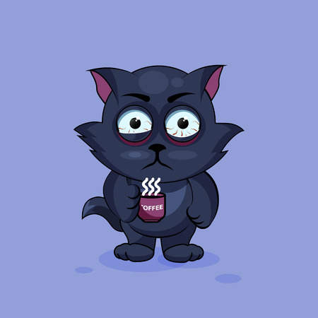 nervousness: Vector Stock Illustration isolated Emoji character cartoon black cat nervous with cup of coffee sticker emoticon for site, infographics, video, animation, websites, e-mails, newsletters, reports, comics