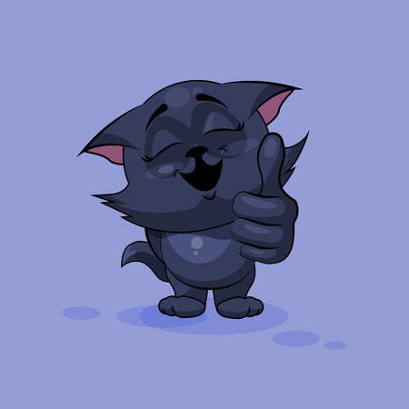 Vector Stock Illustration isolated Emoji character cartoon black cat approves with thumb up sticker emoticon for site, infographics, video, animation, websites, e-mails, newsletters, reports, comics