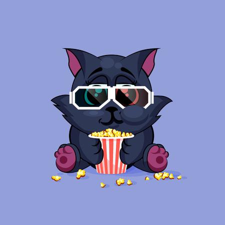 Vector Illustration Emoji dessin animé caractère chat noir mâcher du pop-corn, regarder un film en 3D glasses autocollant émoticône pour le site, infographie, vidéo, animation, site web, e-mail, newsletter, rapport, bande dessinée Vecteurs