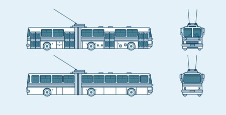 trackless: Set stock vector illustration isolated trolleybus front, side, back view line style blue background Element for site, info graphic, video, animation, website, e-mail, newsletter, reports, comic, icon