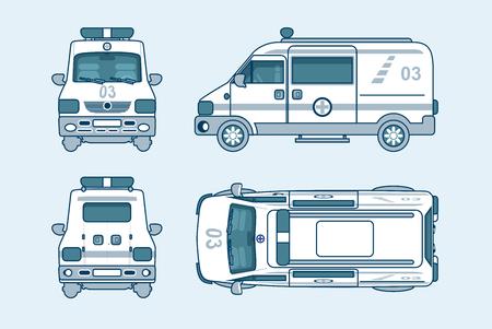 Conjunto de la ilustración del vector aislado superior del coche ambulancia, frontal, lateral, vista posterior estilo de línea fondo blanco información Elemento gráfico, web, icono