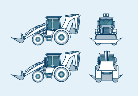 skid steer loader: Set stock vector illustration isolated loader front, side, back view in line style blue background Element for site, info graphics, video, animation, websites, e-mails, newsletters, reports, comic
